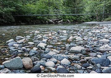 Suspension Bridge Over Rocky Creek