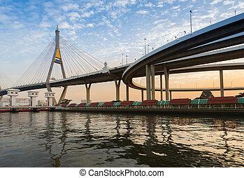 Suspension bridge over watergate at sunset