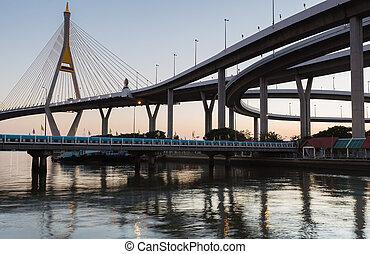 Suspension bridge riverside - After sunset Suspension bridge...