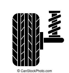 suspension car auto  icon, vector illustration, black sign on isolated background