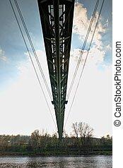 Suspension pipe bridge over river deliver hot steam