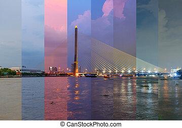 suspension, rama, pont, différent, grand, 8, /, couleur, ombre, coucher soleil, temps