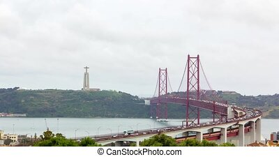 Suspension red metallic bridge in Lisbon, cars moving, timelapse 4k video