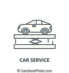 Suspension,car service vector line icon, linear concept, outline sign, symbol
