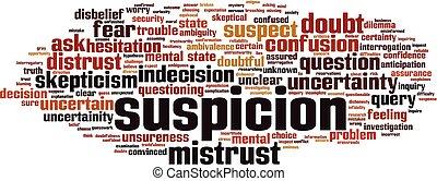 Suspicion word cloud concept. Vector illustration