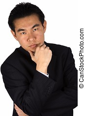 Suspicious - Asian chinese business man with suspicious...