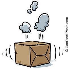 A suspicious box vibrates and smokes.