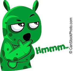 Suspicious green monster vector illustration on a white background