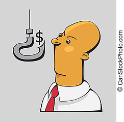 Confused businessman is looking at the dollar sign on a hook shaped as a question mark