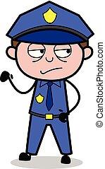Suspicious - Retro Cop Policeman Vector Illustration