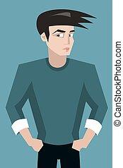 suspicious young man vector cartoon character portrait