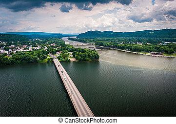 susquehanna, northumberland, pennsylvania., parque, estado, ...