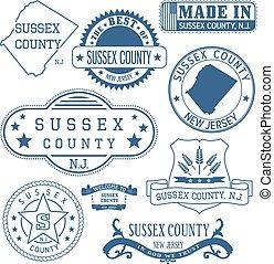 sussex, condado, señales, genérico, nj, sellos
