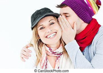 sussurrio, suo, berretto, amico, qualcosa, femmina, uomo, ...