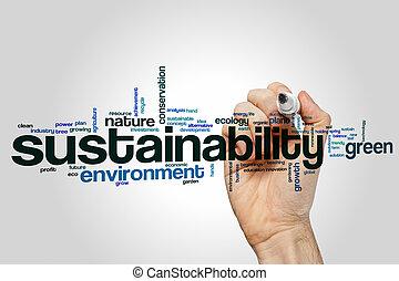 sustainability, 単語, 雲, 概念
