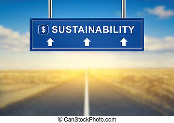 sustainability, 言葉, 上に, 青, 道 印