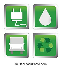 Sustainability - abstract sustainability symbols on a white...