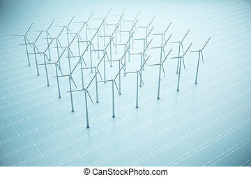 Sustainability concept - Square of windmills on blue mesh...