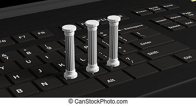 Three classical pillars on a black computer keyboard. 3d illustration