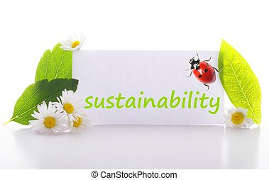 sustainability concept with word on nature still life