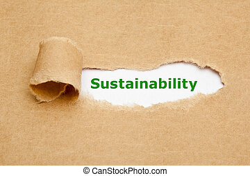 sustainability, gescheurd document, concept