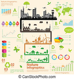 illustration of tree in sustainability infographic