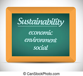 sustainability life chalkboard illustration design over a...