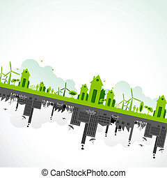 Sustainability of Earth - illustration of cityscape showing...