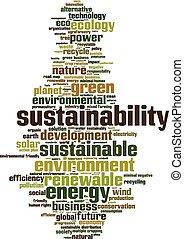 sustainability, palavra, nuvem