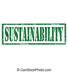 Grunge rubber stamp with text Sustainability, vector illustration