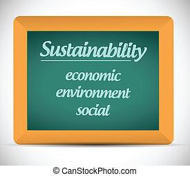 sustainability, vida, desenho, chalkboard, ilustração