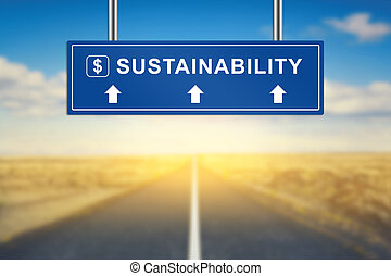 sustainability words on blue road sign with blurred...