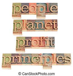 people, planet, profit, principles - sustainable business ...