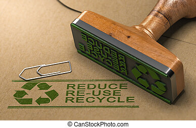 3D illustration of a rubber stamp with the text reduce, re-use and recycle printed on kraft paper. Reducing waste footprint concept.