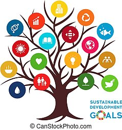 Sustainable Development Global Goals. Abstract Brochure design. Vector illustration. SDG. Colorful icons.