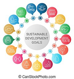 Sustainable Development Goals. Icons Set Global Business, ...
