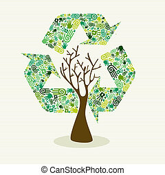 Sustainable development hand made tree - Human hands recycle...