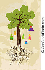 Sustainable development tree with hanging houses - ...