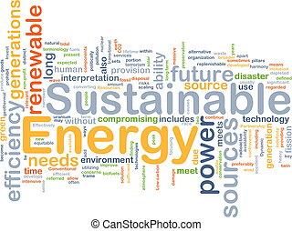 sustainable, energie, pojem, grafické pozadí