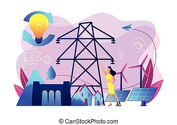 Sustainable energy concept vector illustration. - Scientist...