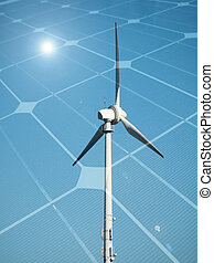 Sustainable energy concept with wind turbine and photovoltaic panel