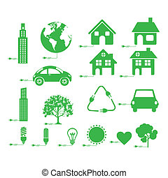 sustainable icons over white background vector illustration