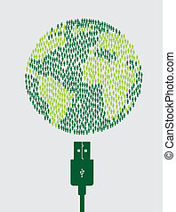 Sustainable icons with usb over white background vector...