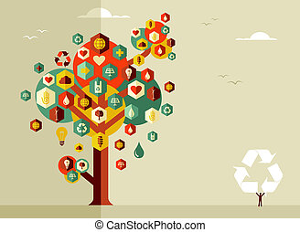Sustainable life tree - Sustainable icons conceptual tree....