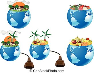 sustainable organic agriculture planet earth with vegetables