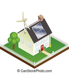 An illustration of a sustainable renewable energy house with solar panels and wind turbine