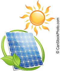 Sustainable solar energy concept with a green leaf...