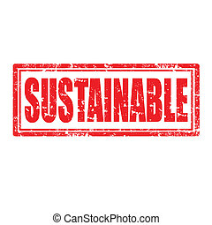 Sustainable-stamp - Grunge rubber stamp with word...