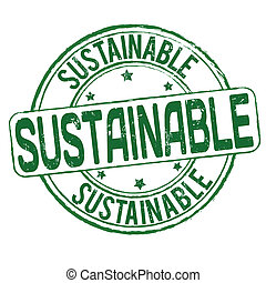 Sustainable stamp - Sustainable grunge rubber stamp on white...