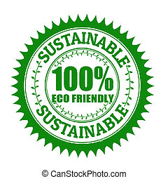 Sustainable stamp - Sustainable grunge rubber stamp on...